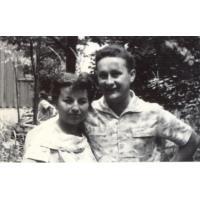 Amelia Heising-Poszowska z mężem Antonim Poszowskim, Sopot 1957 r.