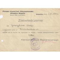Zaświadczenie, Sopot 1945 r.