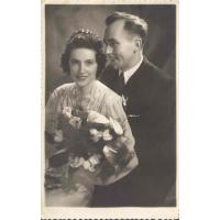 Wirginia i Tadeusz Leśniak, zdjęcie ślubne, Sopot 29.12.1948 r.