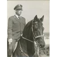 Podkoniuszy Wojciech Kowerski w mundurze. W latach powojennych hipodrom funkcjonował jako jednostka paramilitarna, Sopot 1976 r.